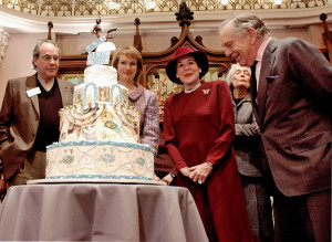 Television correspondent Morley Safer of 60 Minutes, right, looks at a birthday cake during the Jewish Museum's 100th birthday celebration at the museum January 21, 2004 in New York City. Photo: Stephen Chernin/Getty Images