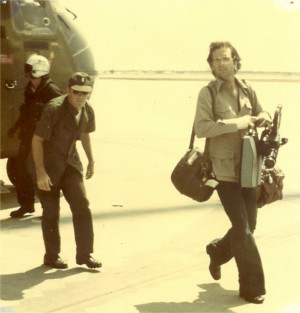 Jim Laurie disembarks from a helicopter after arriving from Cambodia in 1975. Photo courtesy of Jim Laurie
