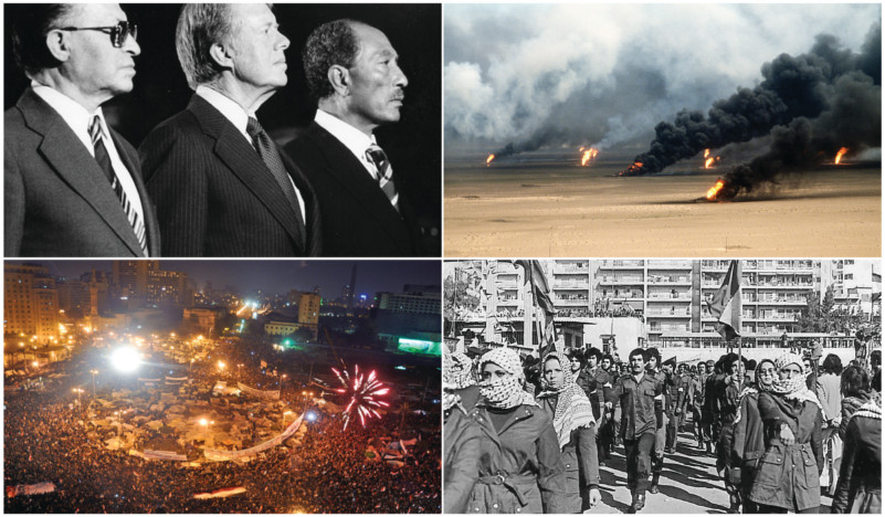Clockwise from upper left: Egyptian President Menachem Begin, Jimmy Carter and Anwar el-Sadat at Camp David in September 1978 (Photo: Bill Fitz-Patrick). Oil well fires rage outside Kuwait City in 1991 in the aftermath of Operation Desert Storm. (Photo: David McLeod). Celebrations in Tahrir Square, Cairo, in 2011 after President Hosni Mubarak's resignation (Photo: Jonathan Rashad). Fedayeen fighters demonstrate at a rally in Beirut, Lebanon in 1979. All photos are from Wikimedia Commons.
